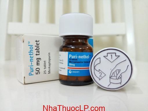 Thuốc PuriNethol 50mg Mercaptoprin chống ung thư máu, chuyển hóa purin (2)